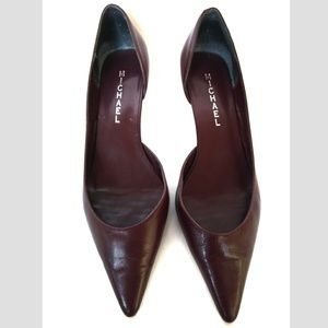 Michael Sz 7.5 burgundy Red Kitten Heels 7.5